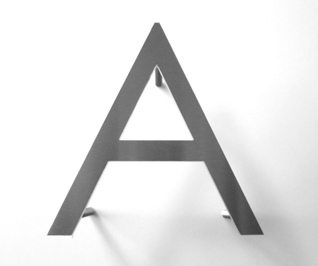letter A flat cut stainless steel letters